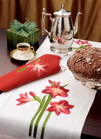 Anali Embroidered Table Linens . Amaryllis . Designer Table