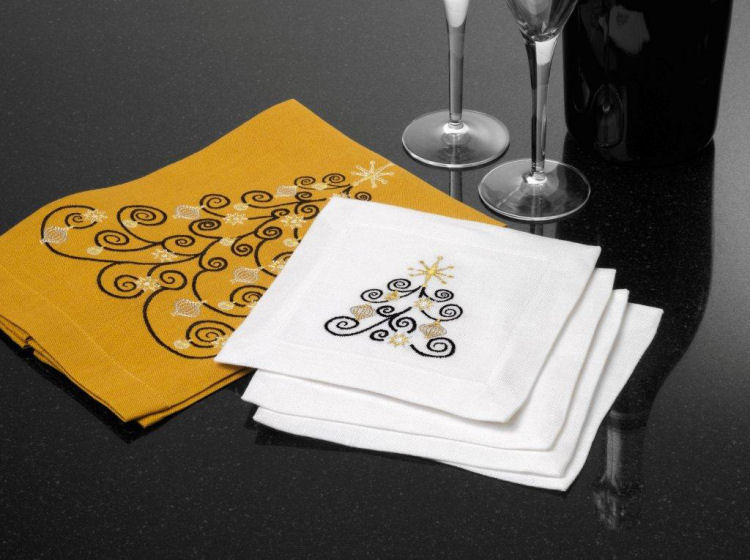 Anali Designer Table Linens . Joy . Embroidered Napkins