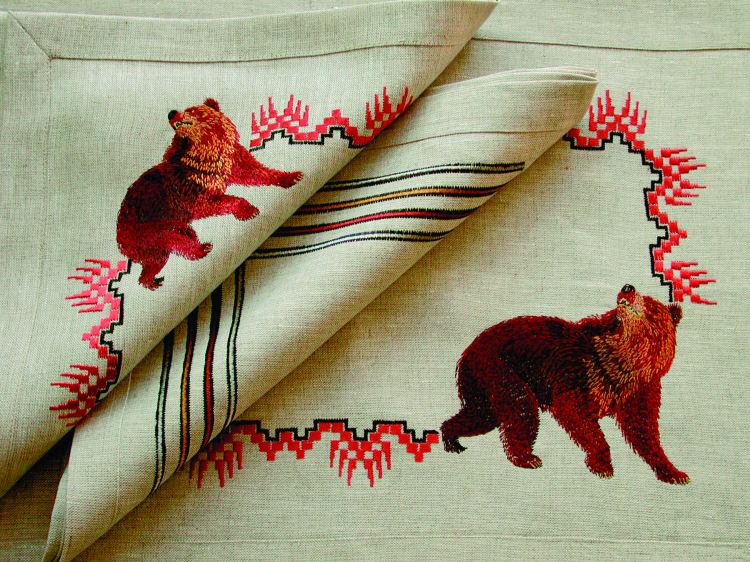 Anali Embroidered Table Linens . Bear . Designer Napkins