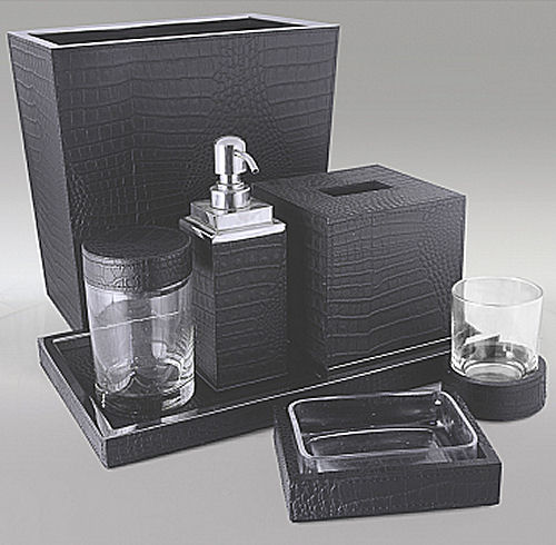 gail deloach bath accessories gail deloach black crocodile embossed leather bath collection