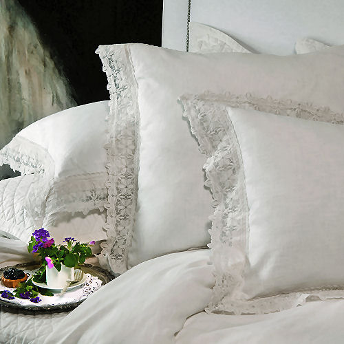 Lili Alessandra . Theresa . White Linen & Lace Bed