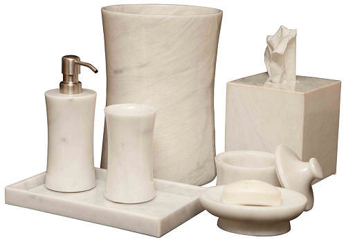 Marblecrafter Vinca Pearle White Bath Collection - 7 pieces