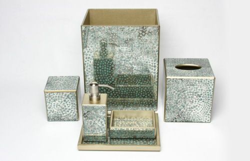 Opulence of southern pines luxury bedding luxurious for Aqua mosaic bathroom accessories