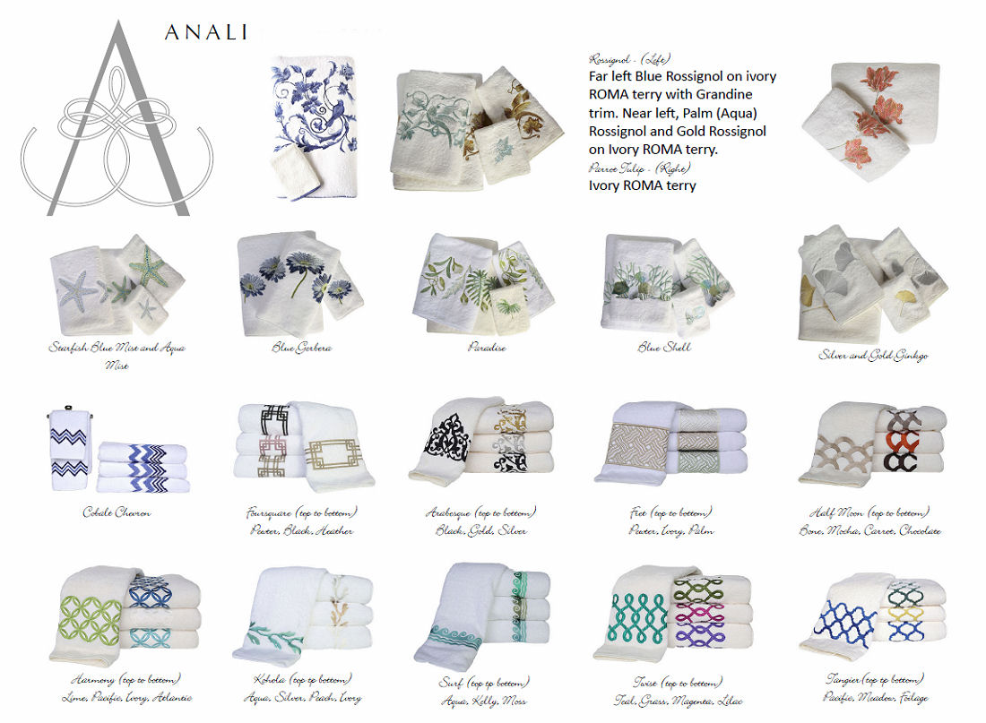 Anali Embroidered Roma Terry Towels